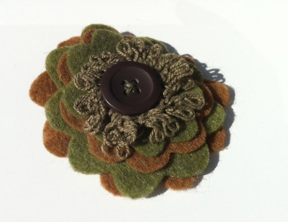 Green and Brown Felt Flower Clip