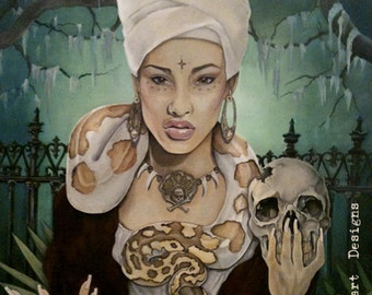 VooDoo Queen Giclee Canvas PRINT 24x30x1 1/4 Gallery Wrap Canvas