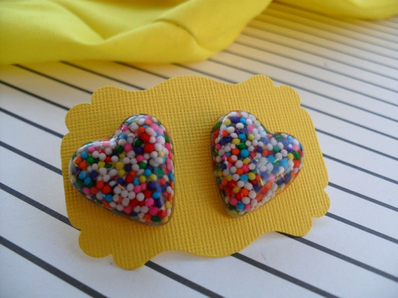 Chunky Candy Sprinkles Heart -Resin Stud Post Earrings-