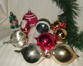 Vintage Christmas ornaments mixed lot 50's through 60's, made USA, Poland.  Cont. US shipping included