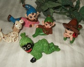 Vintage handmade pixie, elf,elves, fairies.  Cont. US shipping included