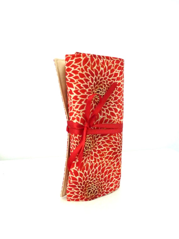 Travel jewelry roll Kyoto Red - Made to order