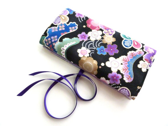 Travel jewelry roll Japan Black - Made to order