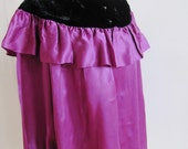 S A L E Vintage YSL Yves Saint Laurent Purple Silk Peasant Blouse With Velvet Trim