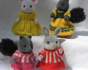 """Knitting KIT for Sylvanian Families & Calico Critters: """"Pretty Frocks"""",pattern, buttons, needles, yarn"""