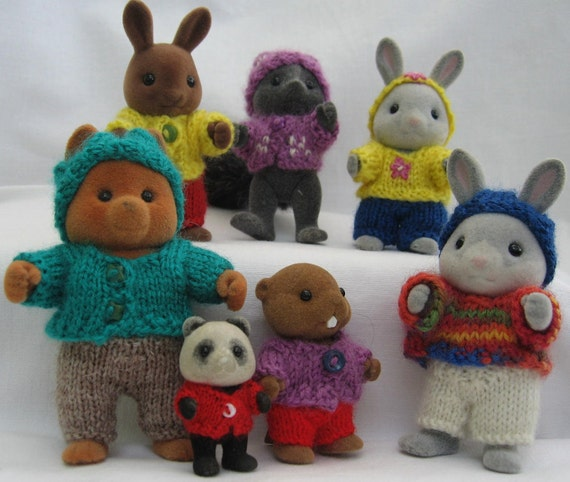 "Knitting pattern ""Playing in the Woods"" for Sylvanian Families & Calico Critters, cute kawaii"