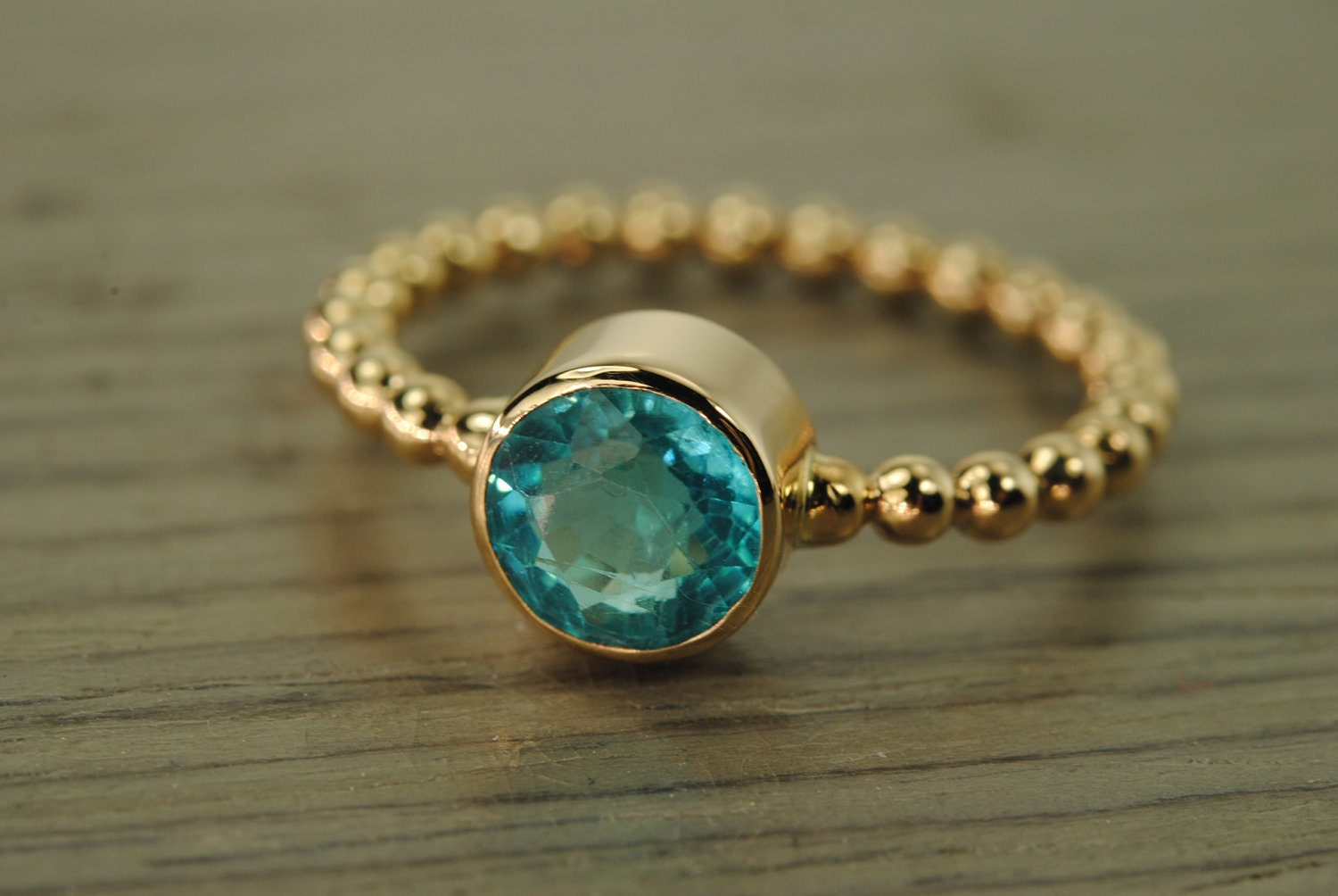 Carmine Ring Teal Apatite Solid 14k Yellow Gold Stacking Ring