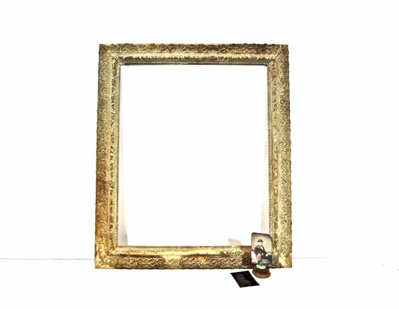 Antique Victorian Gesso Wood Picture Frame / Large