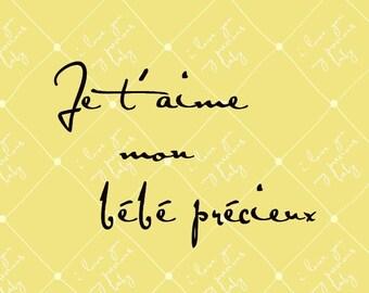 French: I Love You My Precious Baby, 8x10 (Lemon Drop pin cushion) Baby Series BUY 3 GET 1 FREE