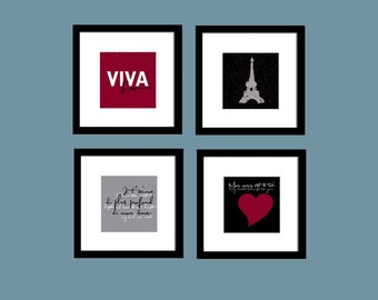 Paris Collection: Set of (4) 5x5 prints, Buy 3 Get 1 Free