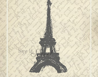 Eiffel Tower Sketch, 11x14 print (Shabby Chic Vintage Scroll Shown) BUY 3 GET 1 FREE