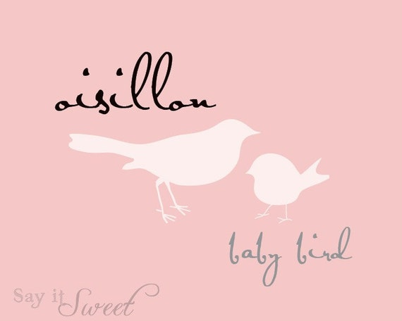 Baby Bird (French Oisillon) Print, 8x10 Print (Blush Pink Shown) Baby Series BUY 3 GET 1 FREE