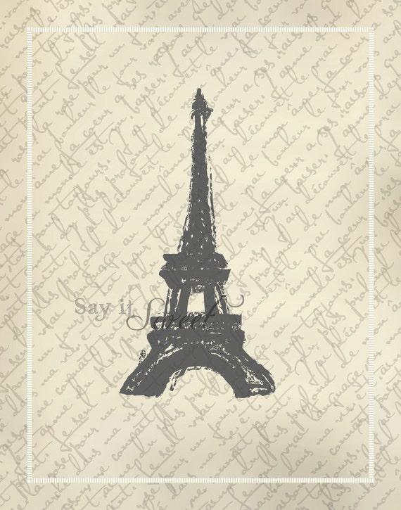 Eiffel Tower Sketch, 11x14 print (Shabby Chic Vintage Scroll Shown) BUY 3 GET 1 FREE