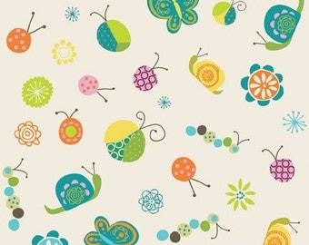 Riley Blake Designs Happier by Denna Rutter. 100% cotton pattern C5501 White - Happier - Bugs