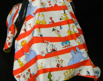 Baby Carrier Custom Cover featuring Dr. Seuss Cat in the Hat Fabric by Robert Kauffman