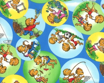 Welcome to Bear Country by the Berenstains - Country Blue Outdoor Bubbles 55502-13 Moda