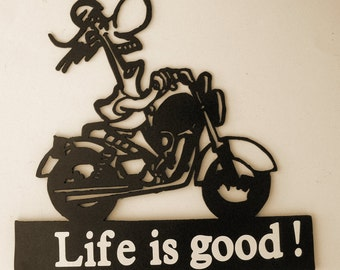 MotorCycle,Rider,Biker,Metal Art,Chopper,Life is good,Wall Decor,Harley,Gift