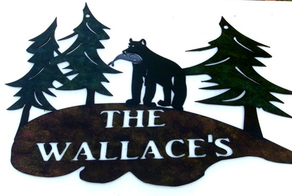 Bear, Pines, Welcome sign,Cabin, Lodge, Northwoods, Metal Art, Gift.PERSONALIZED