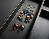 Harriet - Pearls dropped with clustered glass earrings on antique bronze.
