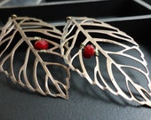 Willa - Leaf with red berry bead earrings.