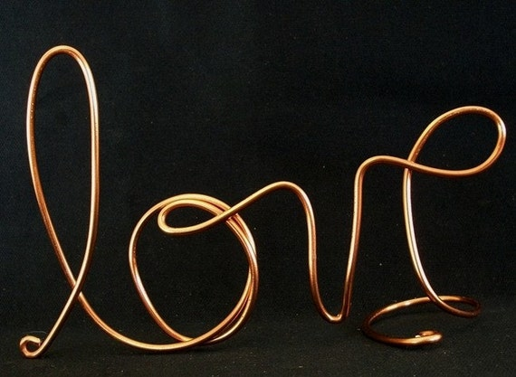 LOVE.....Handcrafted Wedding Cake Topper or Wedding Centerpiece or Decoration in Brass/Copper Color