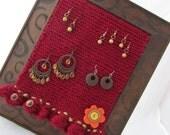 """Knit Earring Holder """"Flower Box"""""""