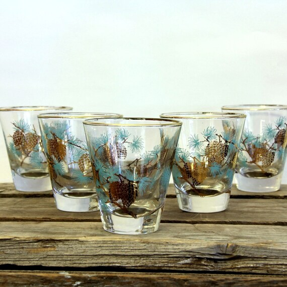 mid century barware Vintage Cocktail Glasses 60s Aqua and Gold Mad Men Woodland (5)