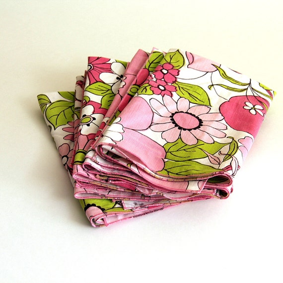 Retro Cloth Napkins, Generous Large Size, Pink and Lime Floral (6)