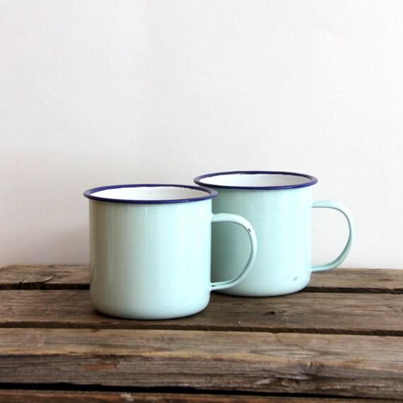 enamelware mugs mint and blue set of 2
