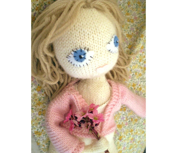 Knitted doll's clothes - Dot babe Knitting Pattern no.2 - peachy pink vintage cardigan