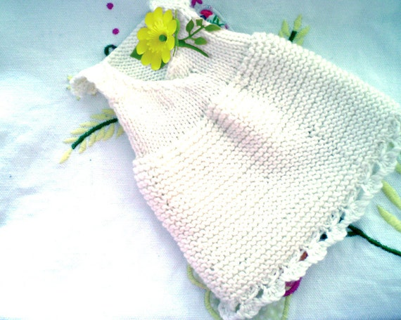 Knitted doll's clothes - Dot babe Knitting Pattern no.4 - knitted lacey nightie