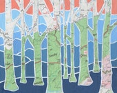 Smoky Mountain Trees - Archival Print of original map painting with map of Smoky Mountain National Park