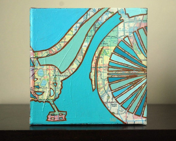 Bike Twin Cities---Bicycle Map Painting