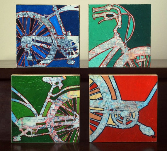 Four 6x6 Mounted Bike Prints with Maps