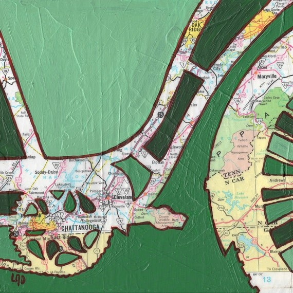 Bike Chattanooga print - featuring Chattanooga, Oak Ridge, Tennessee--bicycle art print