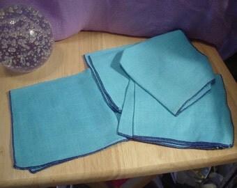 Destash 4 Vintage Blue Napkins, Destash, Napkins, Doily. Placements, Victorian, Bohemian, Cottage Chic, Retro, Eclectic, Handkerchiefs,Linen