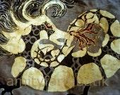 Dragon Breathing Fire - batik print from original