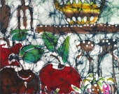 Still Life with Strawberries and Apples - batik print from original