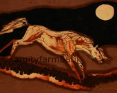 White Horse in Moonlight    -   Original batik painting