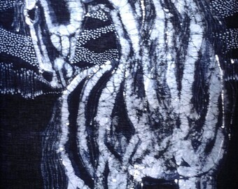 Stallion on Elusive Evening - batik print from original - Evening blue grey light