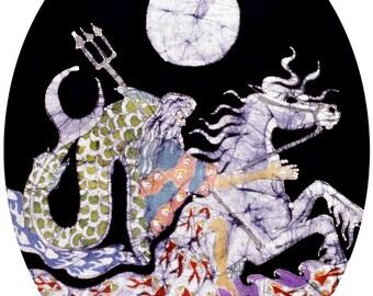 Poseidon Rides the Sea - print from original batik
