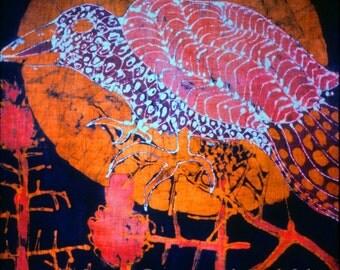 Sundown Bird on Thistle - print from original batik