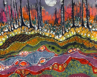 Moonlight Over Spring - limited edition very large, giclee print of original batik