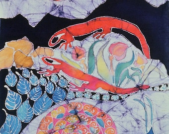 Snail and Red Efts in Spring - batik print from original