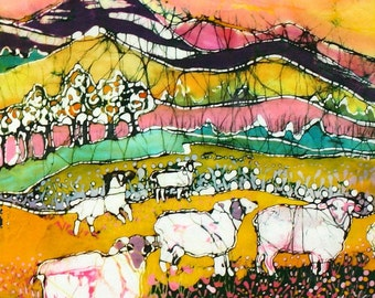 Sheep on Sunny Summer Day  (detail 1) - print from original batik