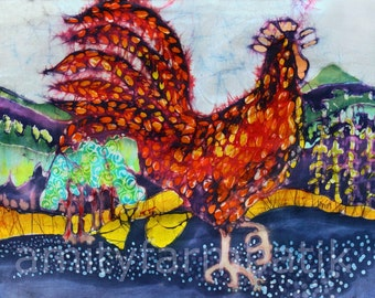Rooster in the Morning - batik print from original