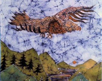 Eagle fabric - Golden Eagle, Gwaihir, Flies above Gorge -  from original  batik - The Lord of the Rings - quilting supply