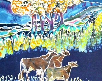Cows Jumping Over the Moon - Large original batik painting