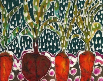 Garden  in Summer Rain- print from original batik