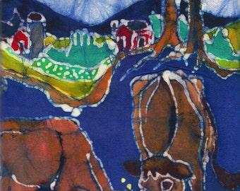 Cows below Farm- batik print from original - jersey cows - grazing - pasture - farm
